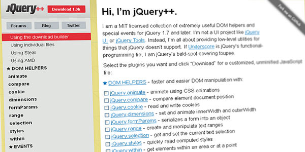Improve jQuery with jQuery++ DOM helpers