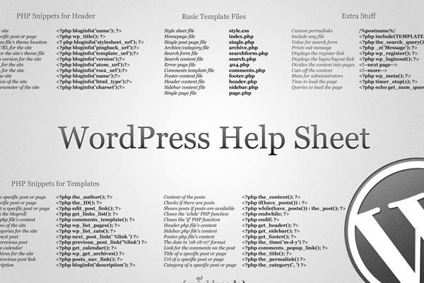 Useful WordPress Infographics and Detailed Cheat Sheets. WordPress Help Sheet Wallpaper