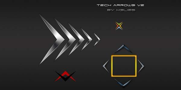 Free Hand Drawn Photoshop Arrow Brushes and Symbols. ech Arrow v2 - Helios Designs