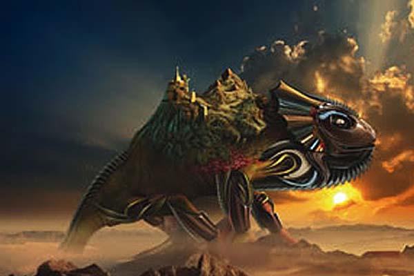 Creating Fantasy Illustration and Magic Scenes. Photoshop Tutorials. Giant warrior lizard