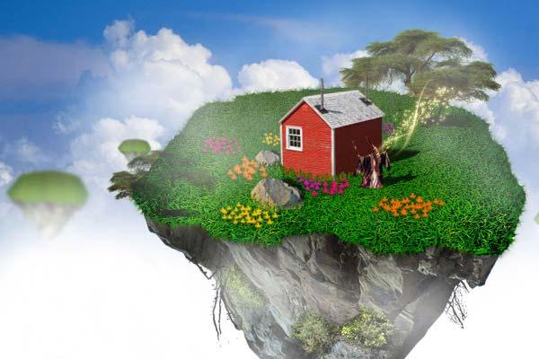 Creating Fantasy Illustration and Magic Scenes. Photoshop Tutorials. Making of a Floating Island