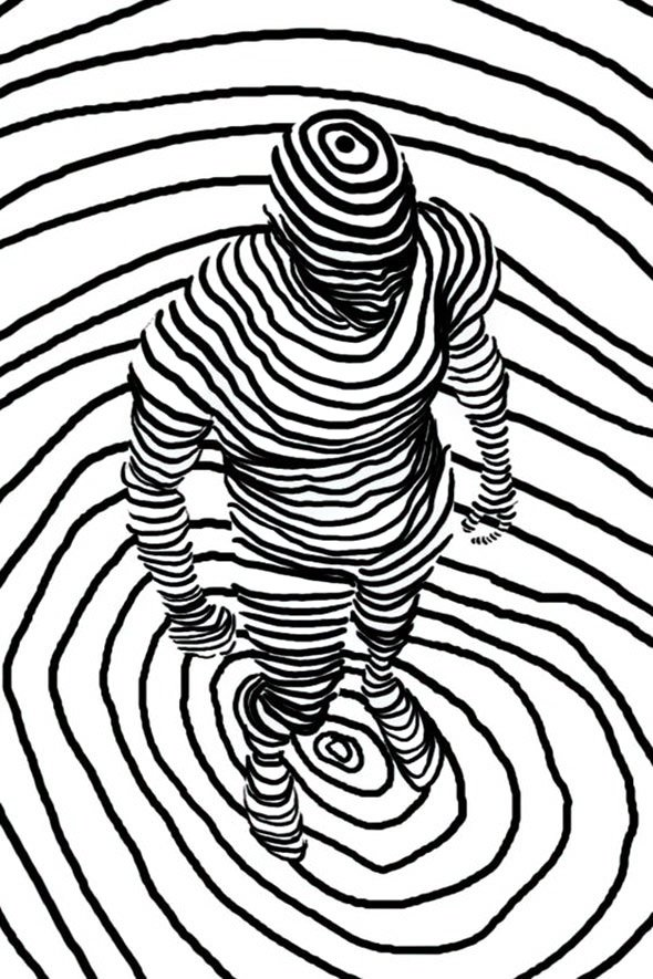Dashed and Contour Line drawings. Complex Simplicity in a Black-White Artworks