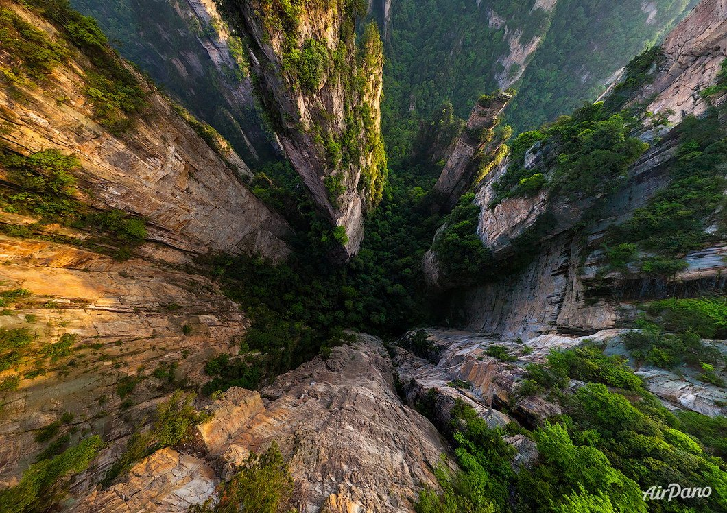 Zhangjiajie National Forest Park, China. Aerographic photo. Bird's eye view. Airpano