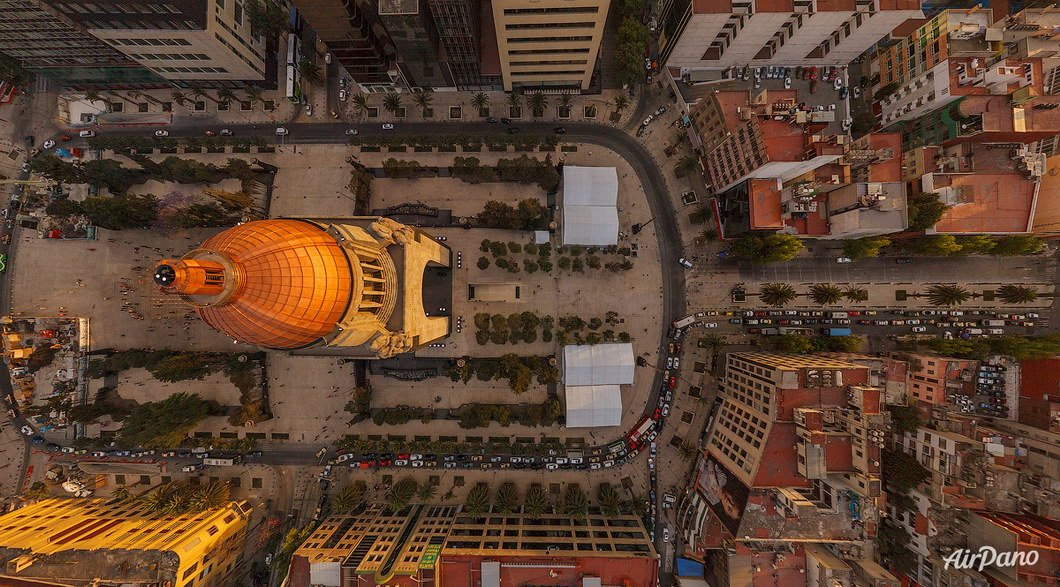 Monument to the Mexican Revolution, Mexico City, Mexico. Aerographic photo. Bird's eye view. Airpano
