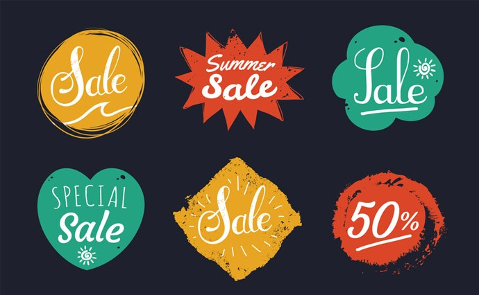 Free Vector Sale Stamp Label Set and Discount Marks