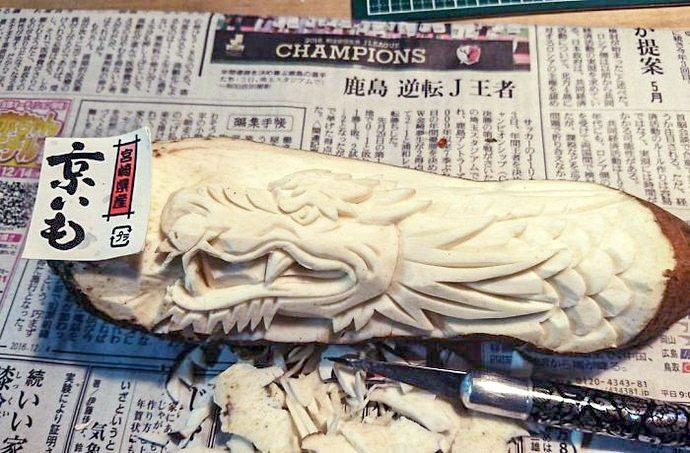Chinese dragons. Mukimono 剥き物. Fruit-vegetable carving. Japanese virtuoso Gaku