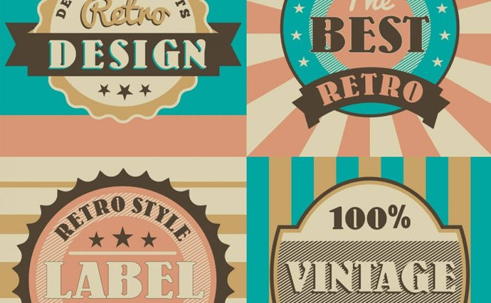 Retro-style free vector elements. Badges, apparel and cars