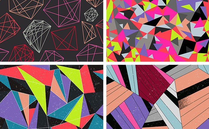 Vector Geometric Patterns for design. Low poly, triangle and abstract tracery for any purpose