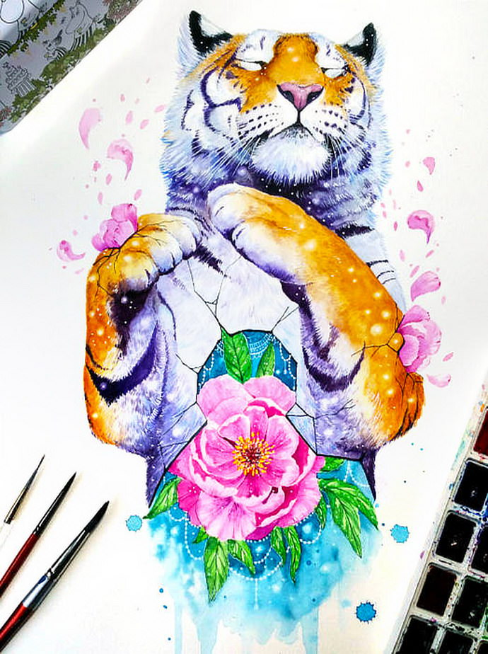 Watercolors animals by Jonna Lamminaho. Colorful paintings with hidden meaning